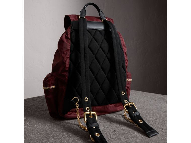 The Large Rucksack in Technical Nylon and Leather in Burgundy Red - cell image 4