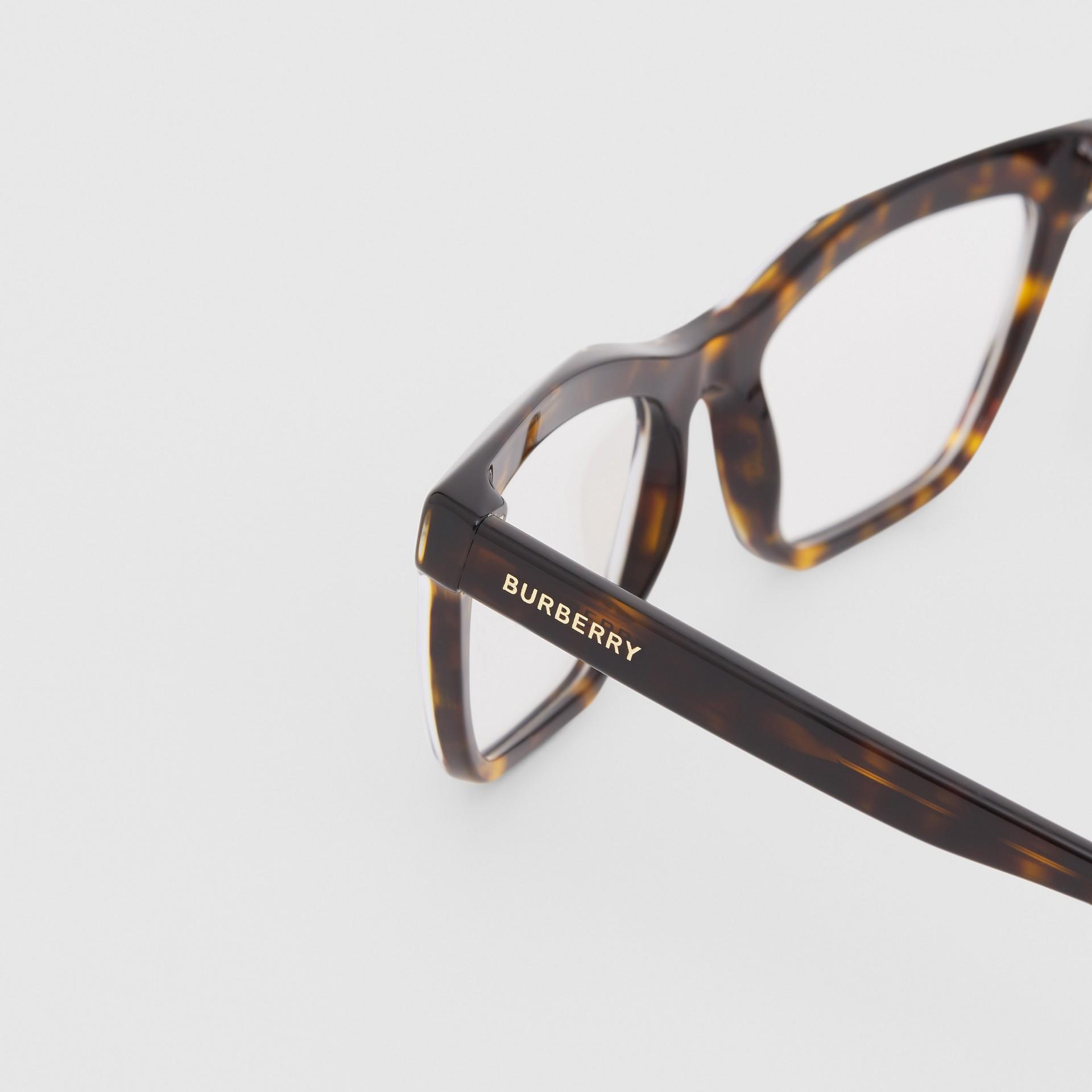 Monture rectangulaire pour lunettes de vue (Écaille  Tortue) - Femme | Burberry Canada - photo de la galerie 1