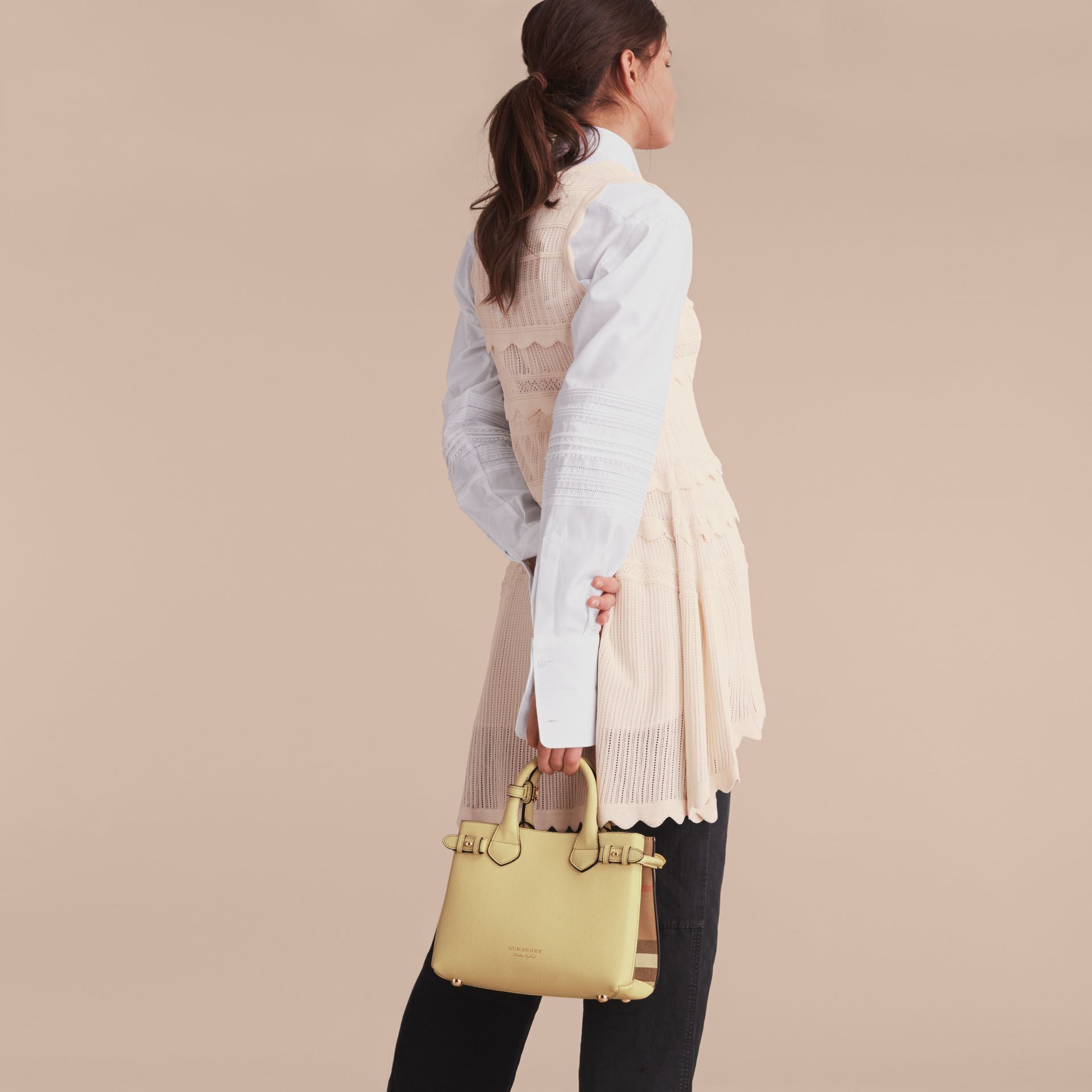 The Small Banner in Leather and House Check in Camomile Yellow - Women | Burberry - gallery image 3