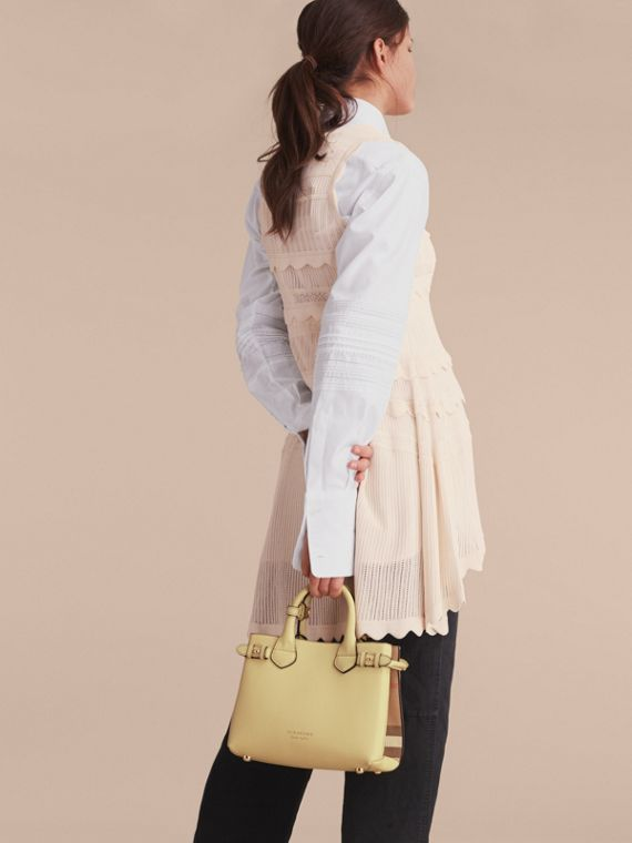 The Small Banner in Leather and House Check in Camomile Yellow - Women | Burberry - cell image 2