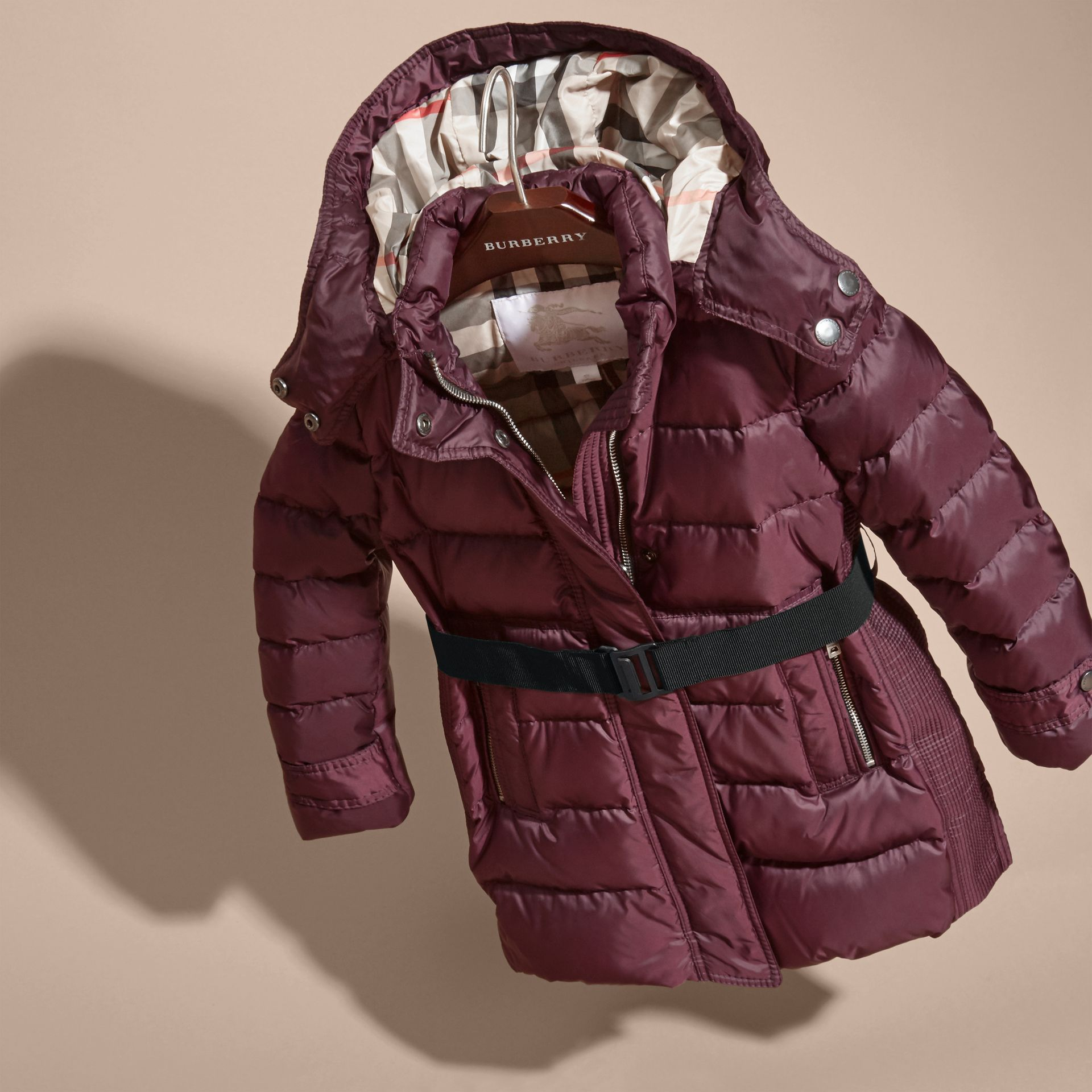 Beetroot Showerproof Puffer Coat - gallery image 3