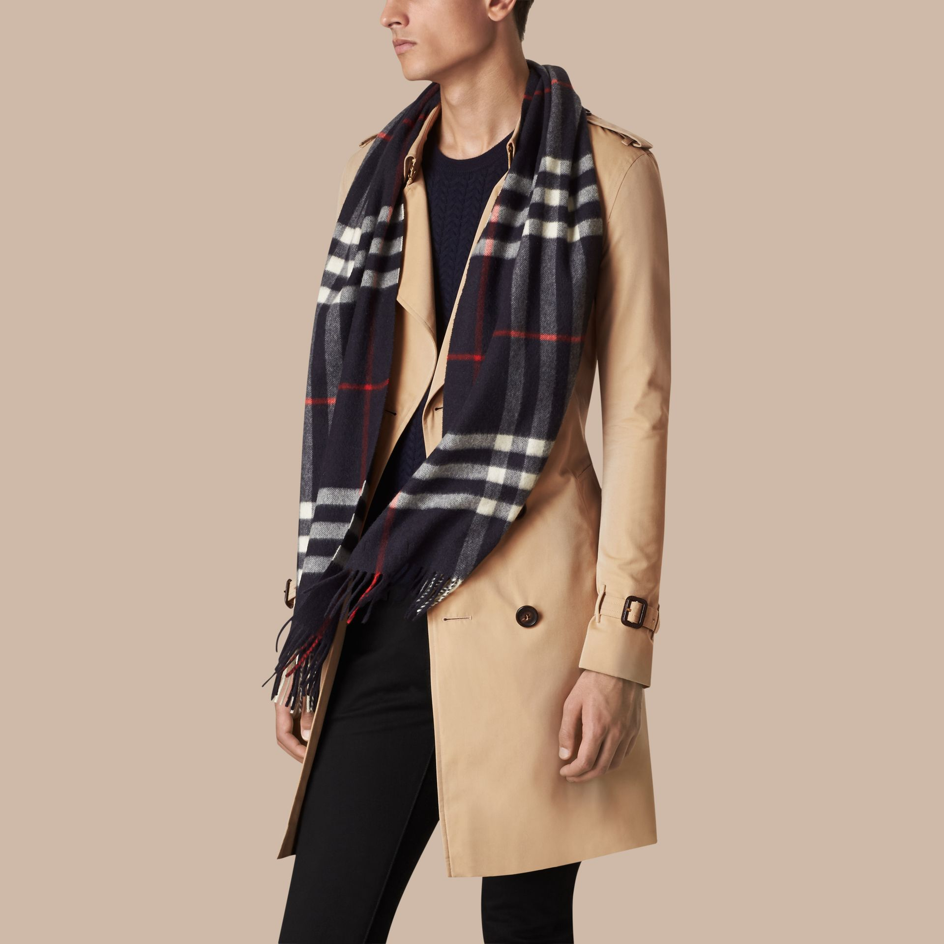 Navy The Classic Cashmere Scarf in Check Navy - gallery image 4
