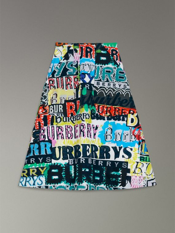 Logo Print Cotton A-line Skirt in Multicolour - Women | Burberry Canada - cell image 3