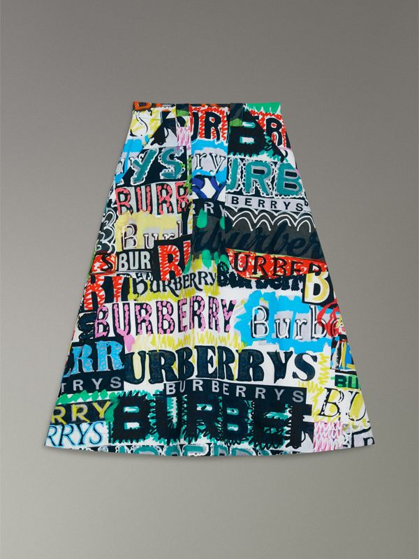 Logo Print Cotton A-line Skirt in Multicolour | Burberry Australia - cell image 3
