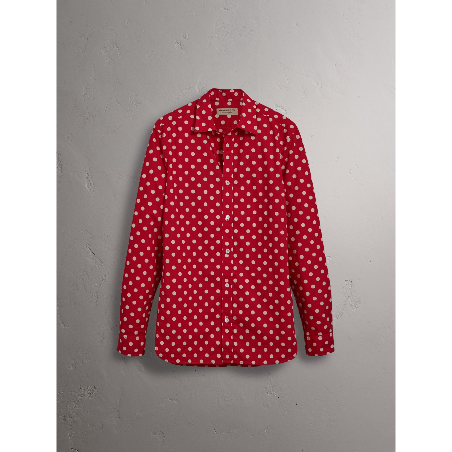 Polka-dot Cotton Flannel Shirt in Bright Orange Red - Men | Burberry - gallery image 3