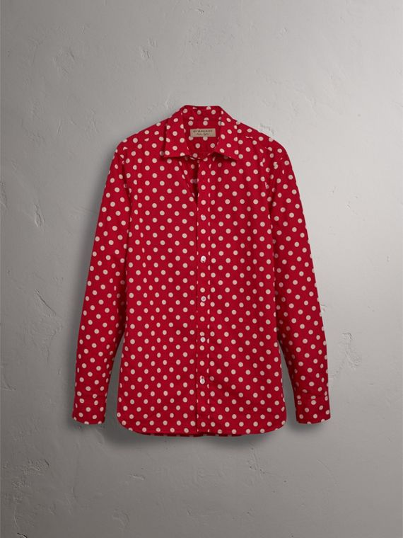 Polka-dot Cotton Flannel Shirt in Bright Orange Red - Men | Burberry - cell image 3