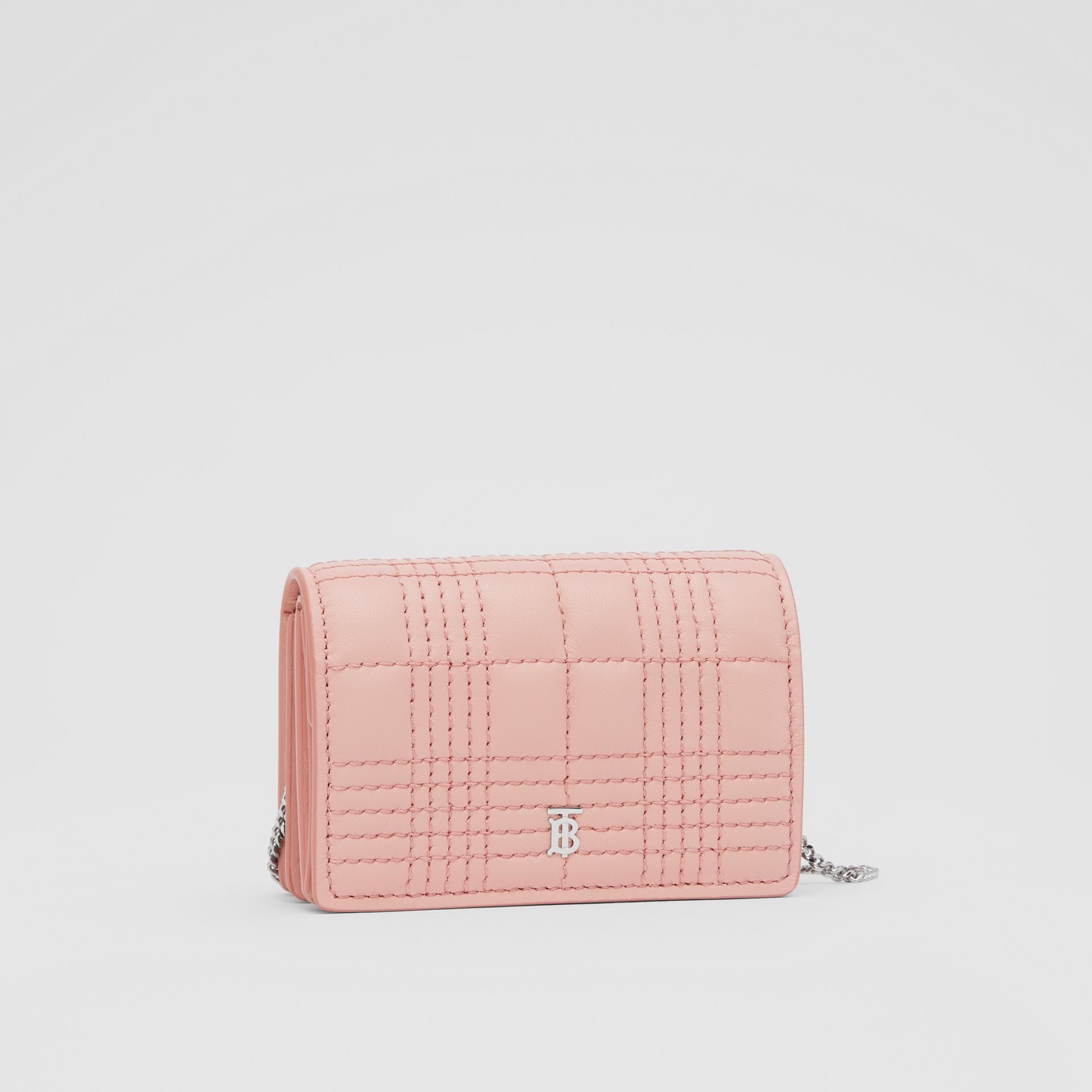 Quilted Lambskin Card Case with Detachable Strap in Blush Pink | Burberry - gallery image 7