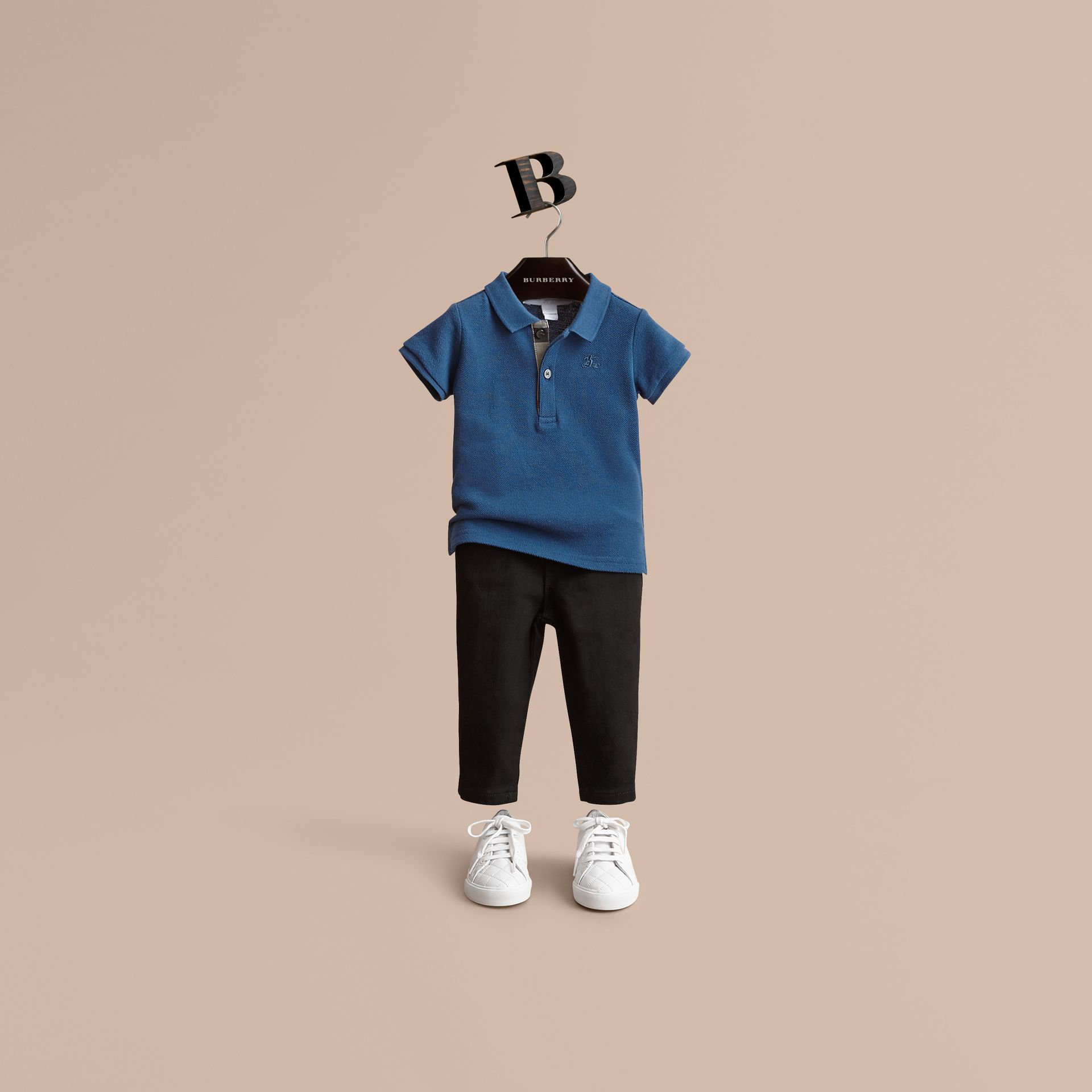 Check Placket Cotton Piqué Polo Shirt in Marine Blue - Children | Burberry United Kingdom - gallery image 1