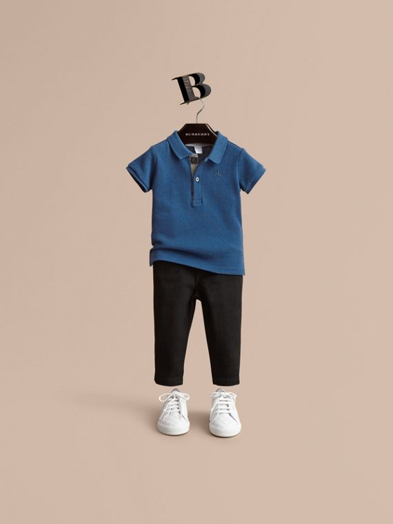 Check Placket Cotton Piqué Polo Shirt in Marine Blue