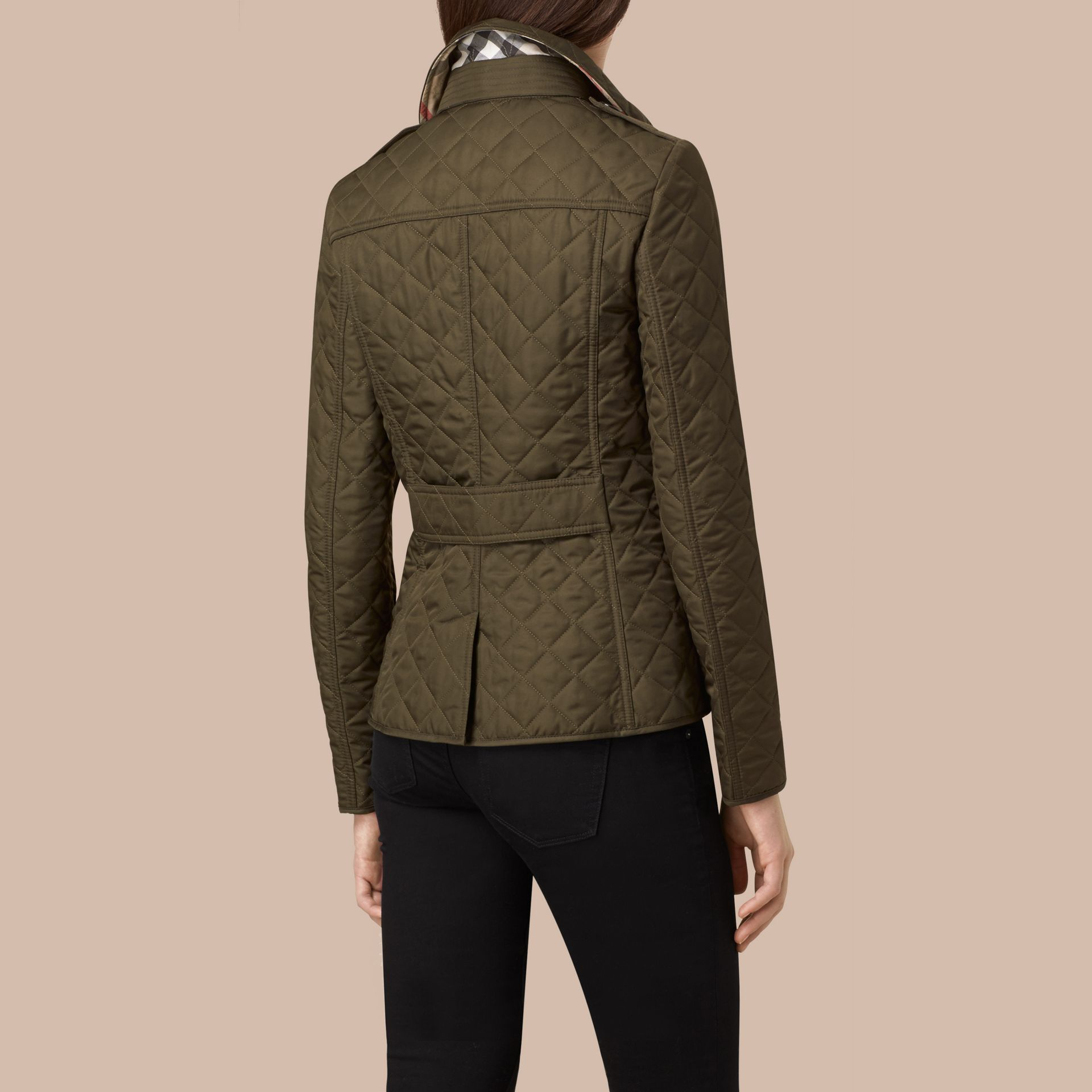 Diamond Quilted Jacket in Dark Olive - gallery image 4