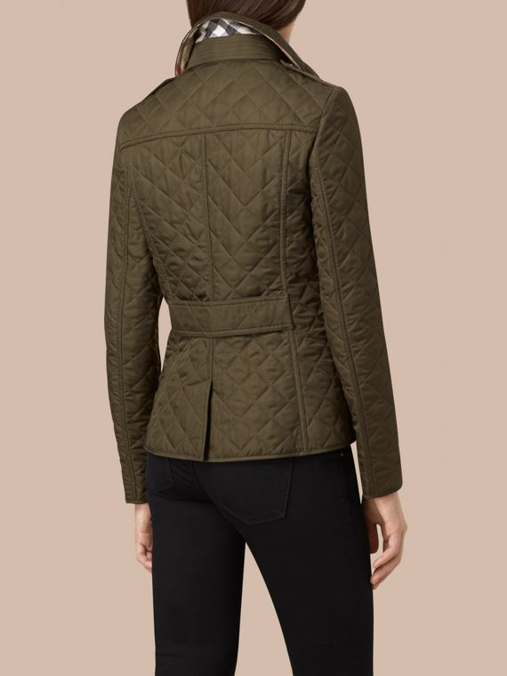 Diamond Quilted Jacket in Dark Olive - cell image 3