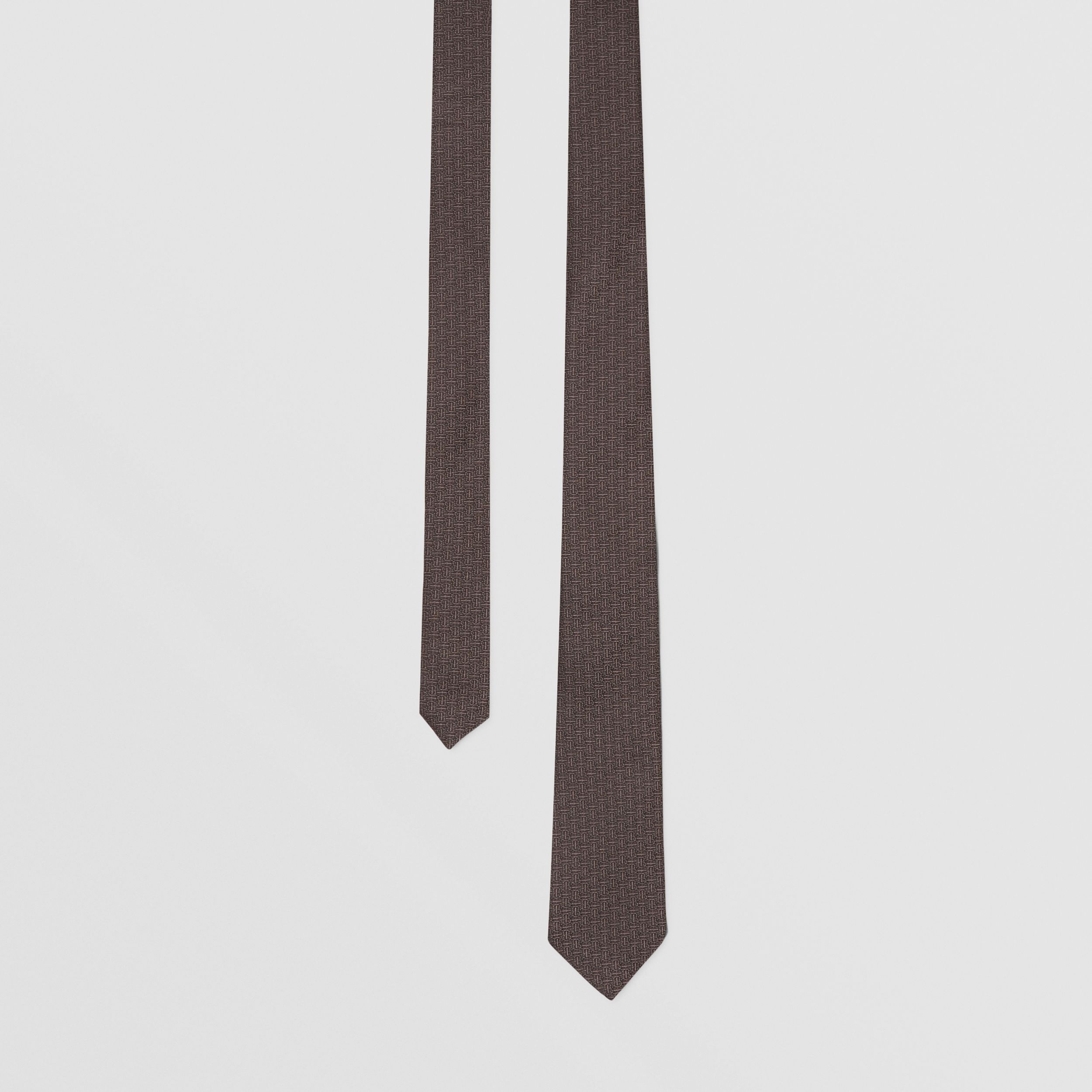 Classic Cut Monogram Silk Jacquard Tie in Charcoal - Men | Burberry - 1