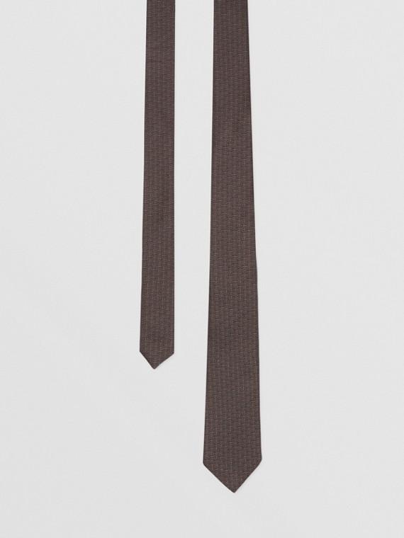 經典剪裁花押字絲質提花領帶 (炭灰色)