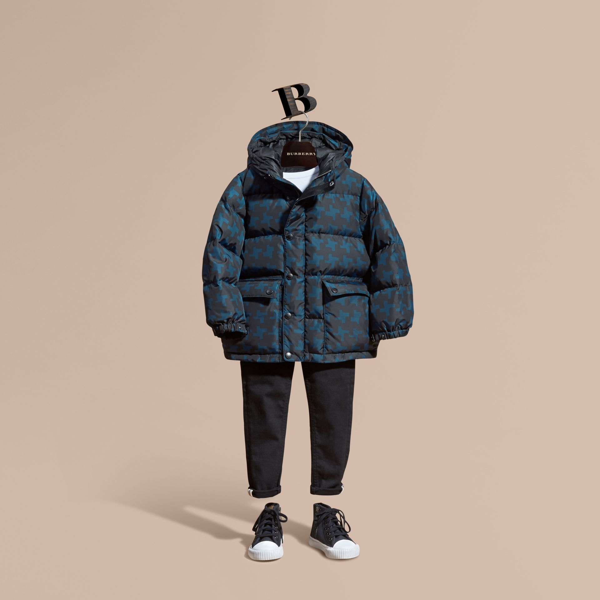 Mineral blue Printed High-shine Down-filled Puffer Coat - gallery image 1
