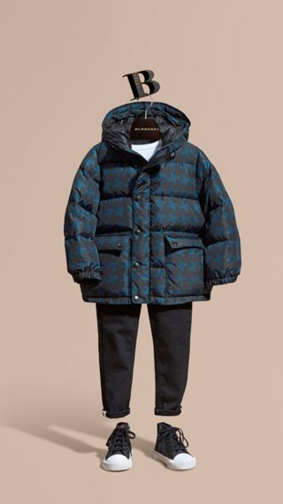 Printed High-shine Down-filled Puffer Coat