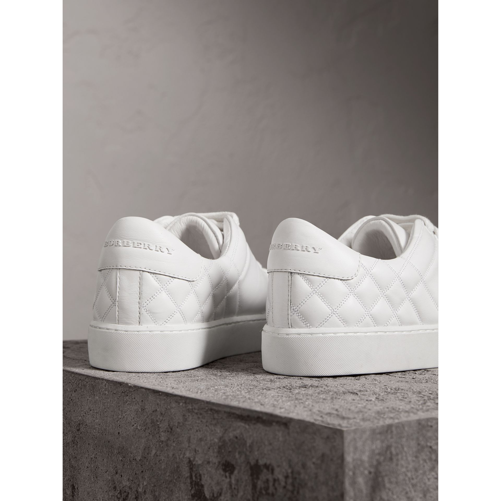 Check-quilted Leather Sneakers in Optic White - Women | Burberry United States - gallery image 3