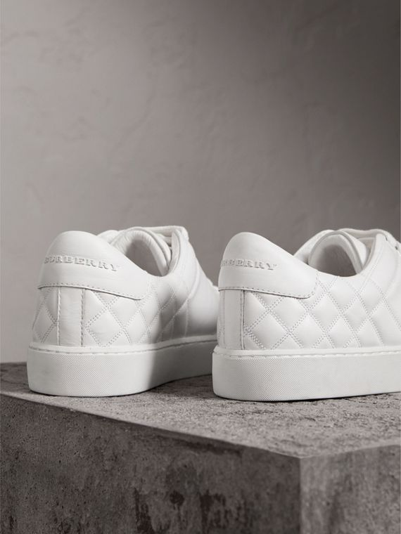Check-quilted Leather Trainers in Optic White - Women | Burberry - cell image 3