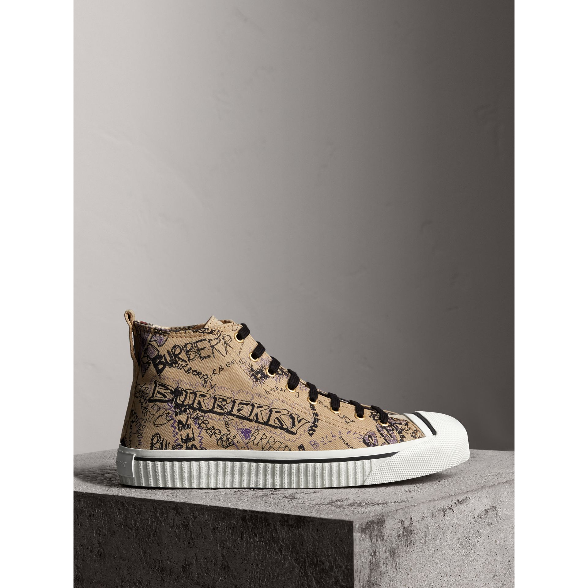 Doodle Print Cotton Gabardine High-top Trainers in Honey - Men | Burberry - gallery image 4