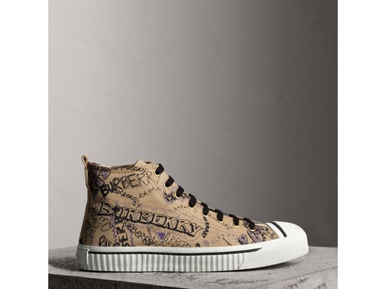 Doodle Print Cotton Gabardine High-top Trainers in Honey - Men | Burberry - cell image 4