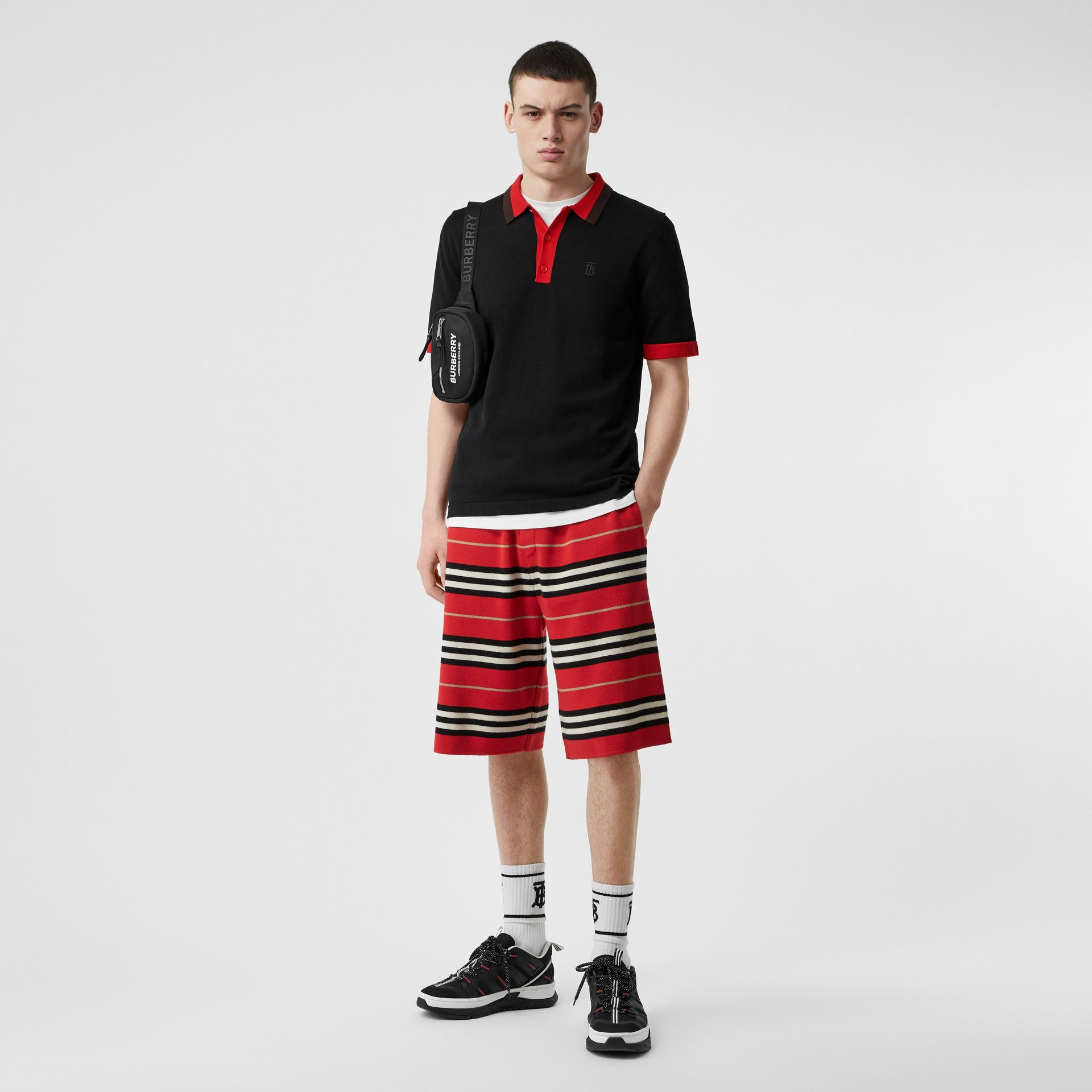 Monogram Motif Tipped Cotton Polo Shirt in Black - Men | Burberry - gallery image 0