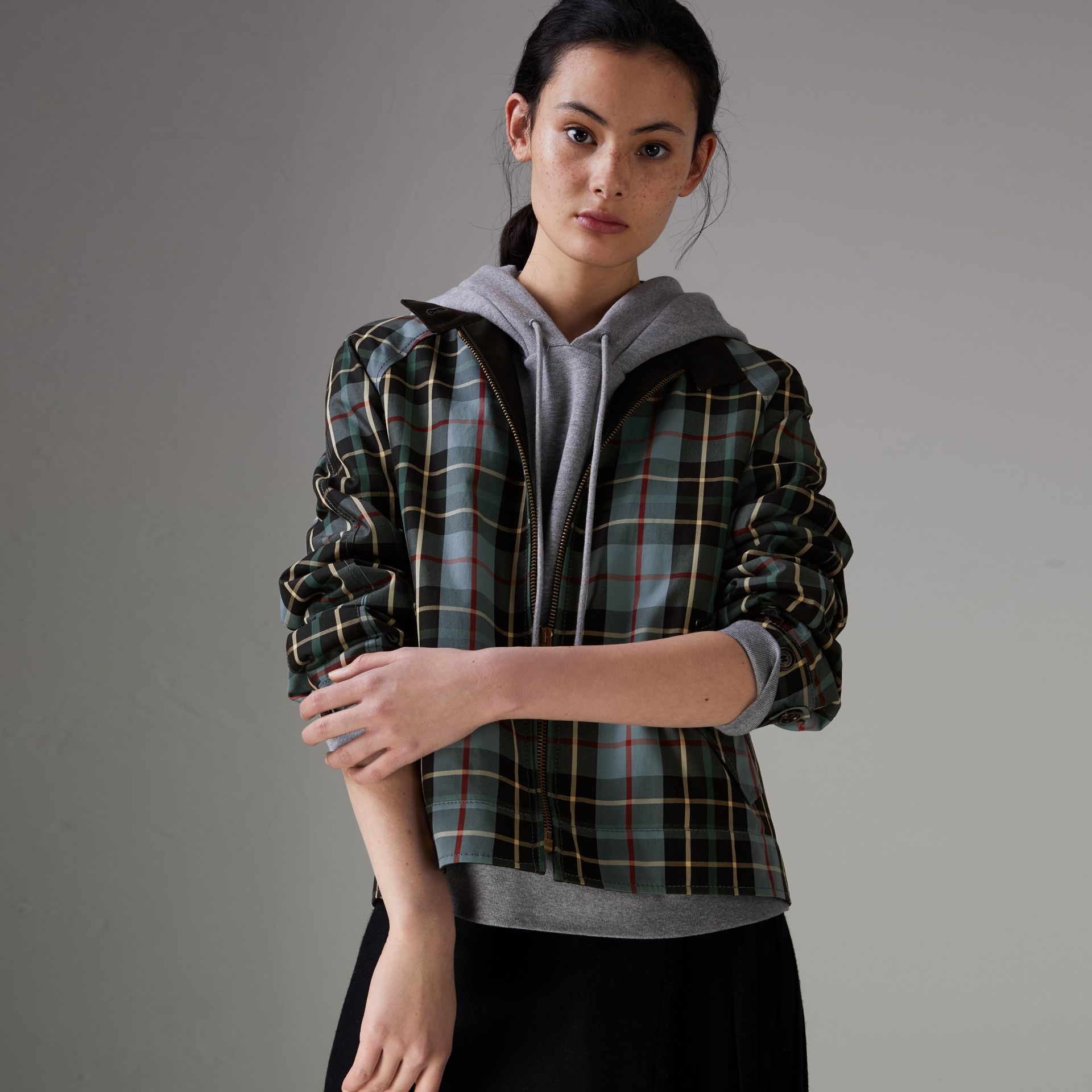 Tartan Cotton Gabardine Jacket in Cyan Blue - Women | Burberry - gallery image 0
