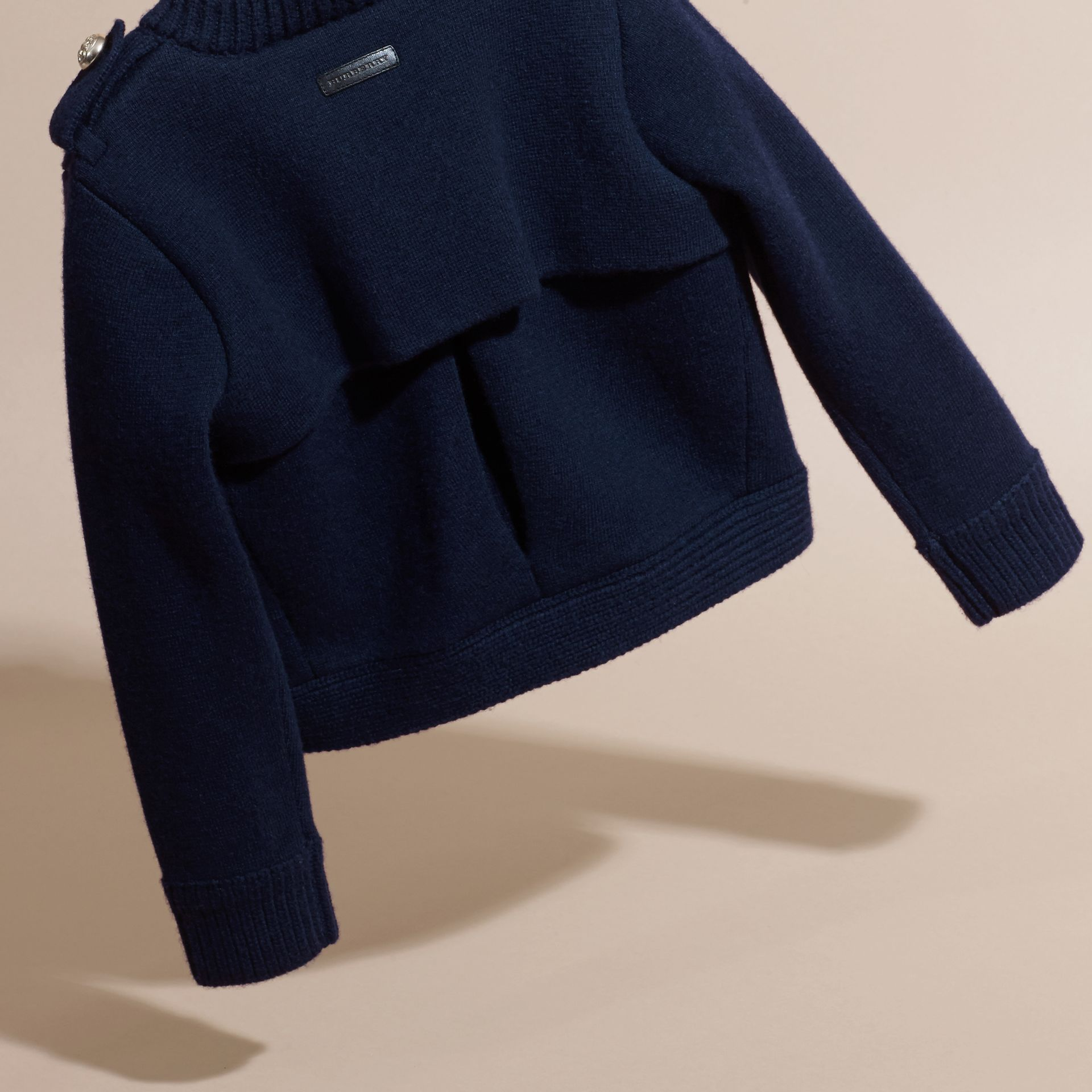 Navy Wool Cashmere Military Knitted Jacket - gallery image 4