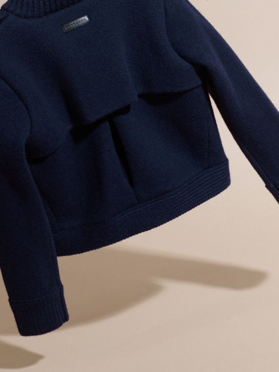 Navy Wool Cashmere Military Knitted Jacket - cell image 3