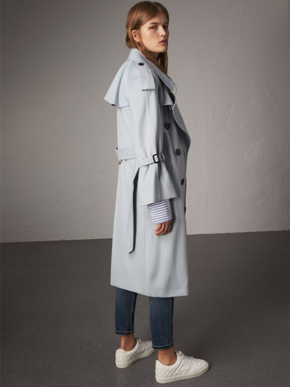 Ruffled Storm Shield Cashmere Trench Coat in Mineral Blue - Women | Burberry - cell image 2