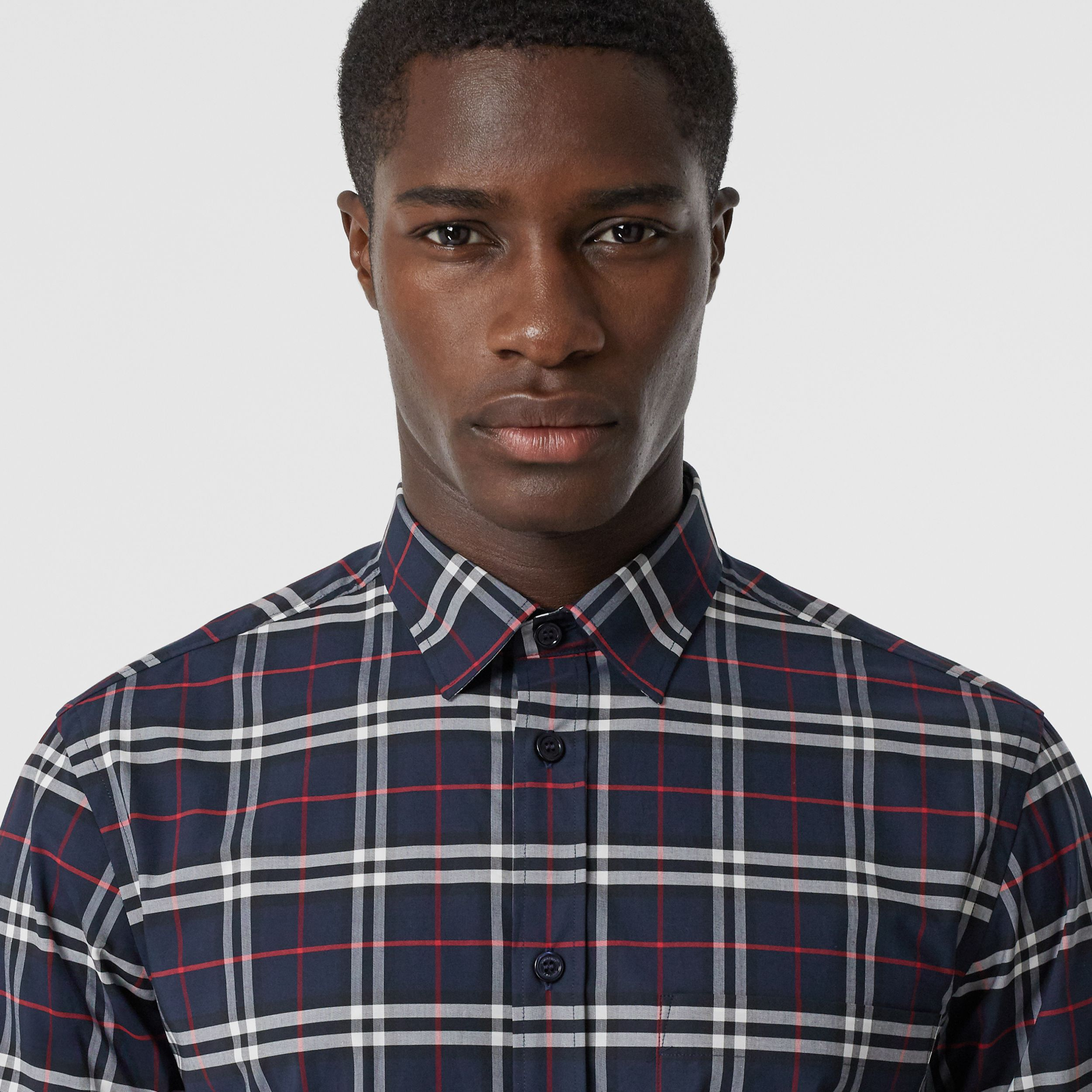 Small Scale Check Stretch Cotton Shirt in Navy - Men | Burberry - 2