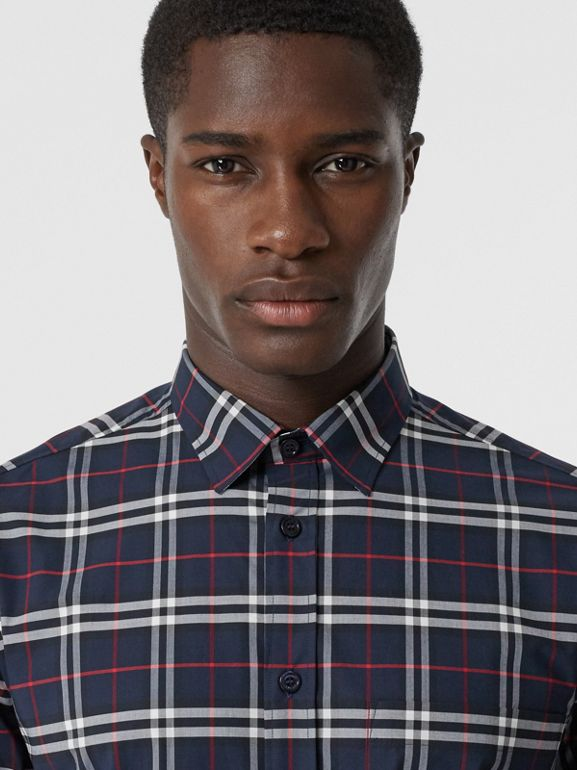 Small Scale Check Stretch Cotton Shirt in Navy - Men | Burberry - cell image 1