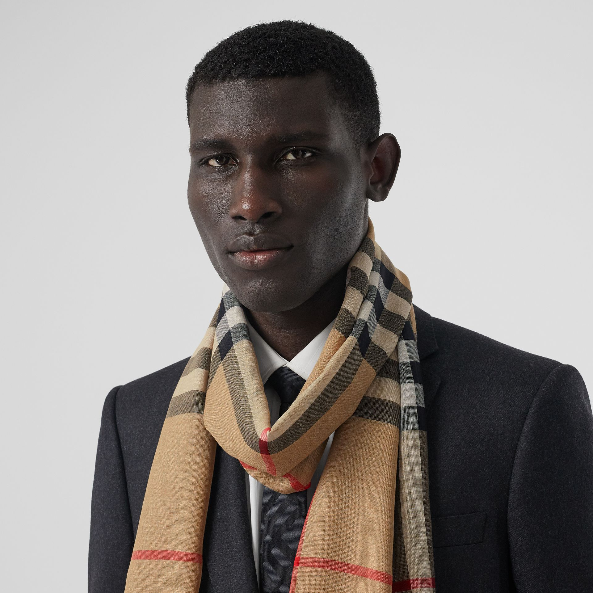 Lightweight Check Wool Silk Scarf in Archive Beige | Burberry - gallery image 3
