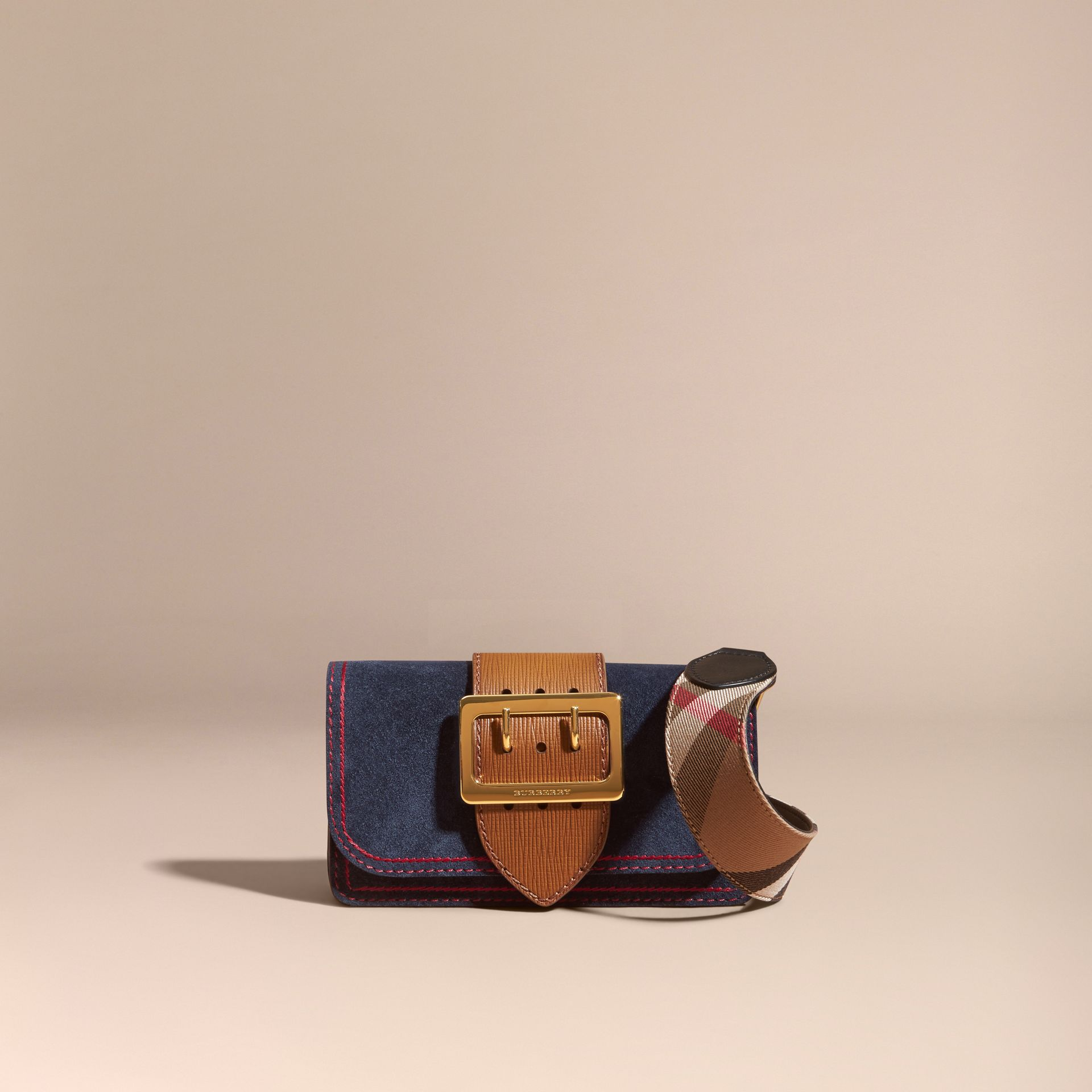The Small Buckle Bag in Suede with Topstitching Ink / Tan - gallery image 9