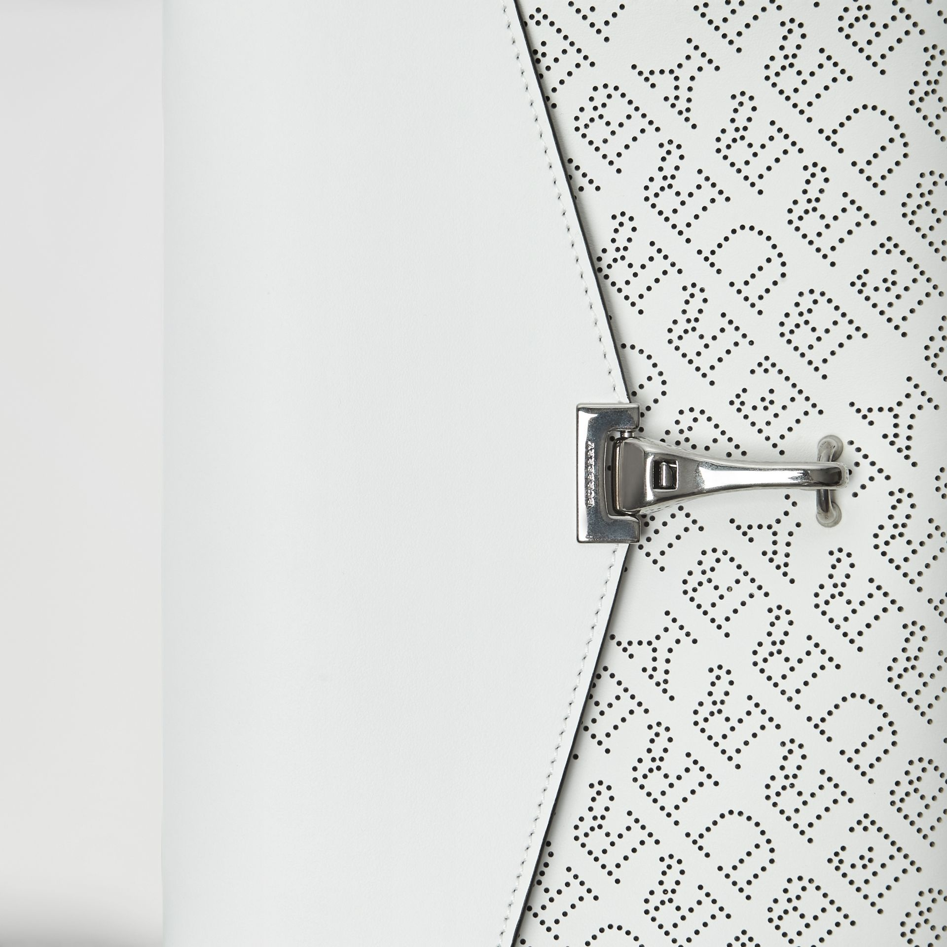 Small Perforated Logo Leather Crossbody Bag in Chalk White - Women | Burberry Australia - gallery image 1