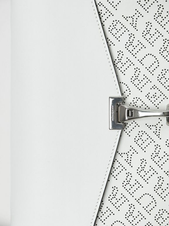 Small Perforated Logo Leather Crossbody Bag in Chalk White - Women | Burberry Australia - cell image 1
