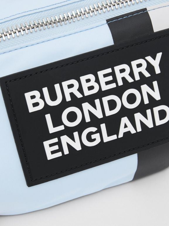 Logo Appliqué Icon Stripe ECONYL® Bum Bag in Pale Blue - Children | Burberry United Kingdom - cell image 1