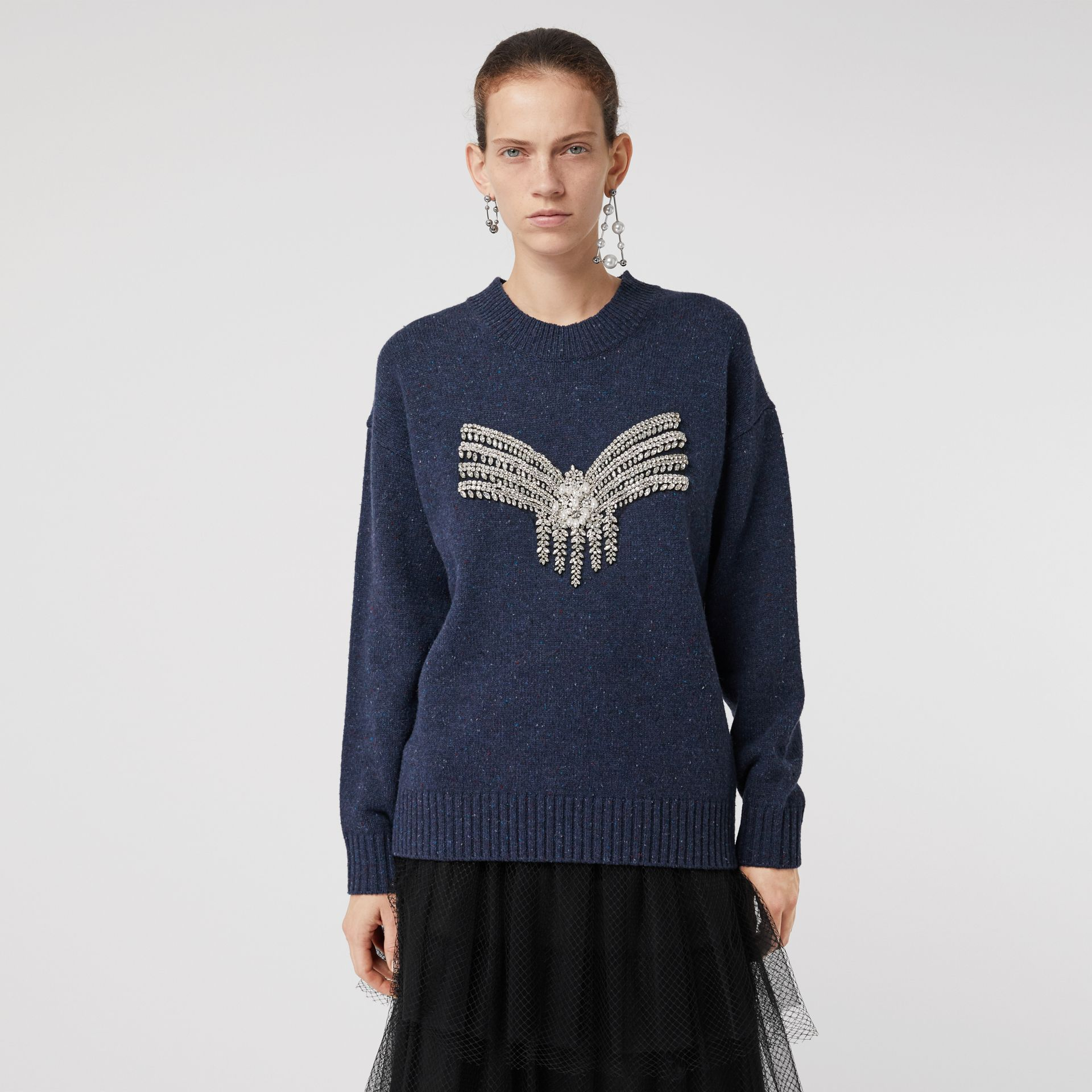 Crystal-embellished Merino Wool Sweater in Sapphire Blue - Women | Burberry - gallery image 0