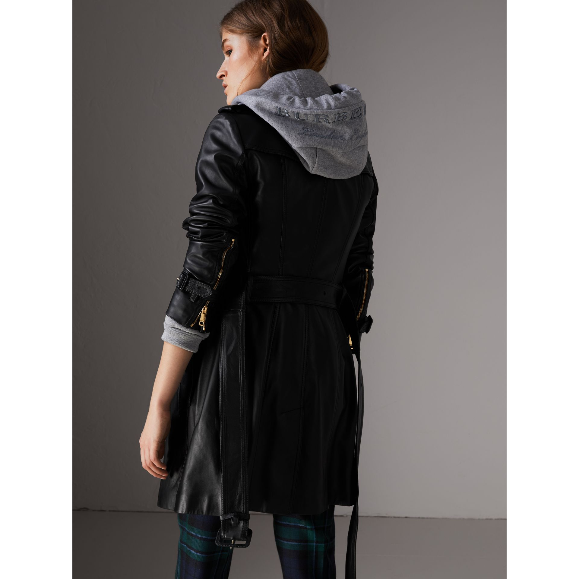 Lambskin Trench Coat in Black - Women | Burberry Singapore - gallery image 2