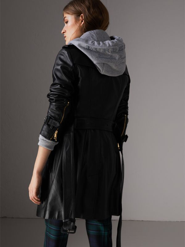 Lambskin Trench Coat in Black - Women | Burberry Singapore - cell image 2