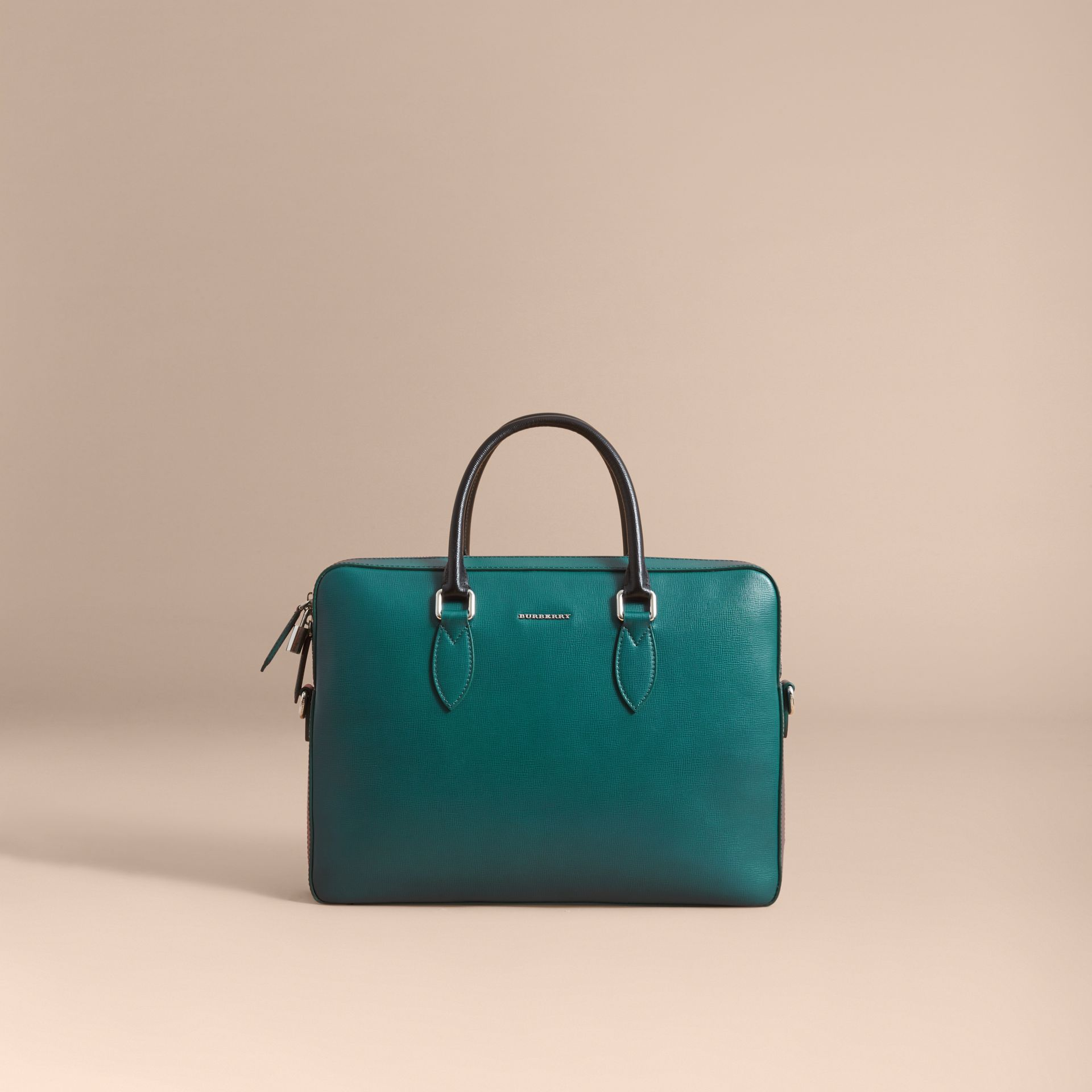 London Leather Briefcase in Dark Teal/black - Men | Burberry - gallery image 8