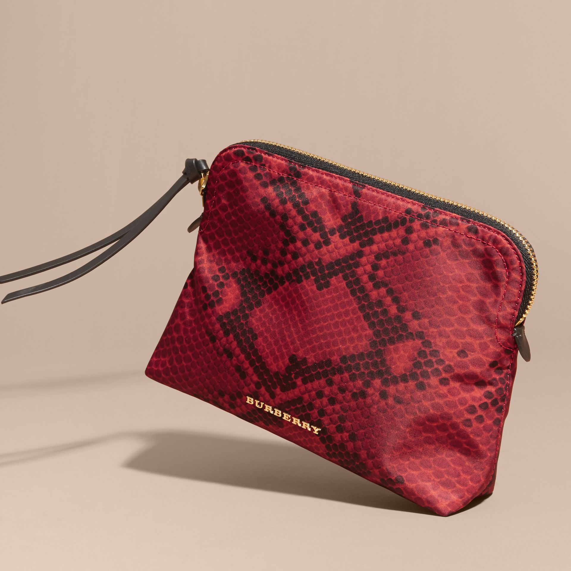 Burgundy red Large Zip-top Python-print Technical Nylon Pouch Burgundy Red - gallery image 6