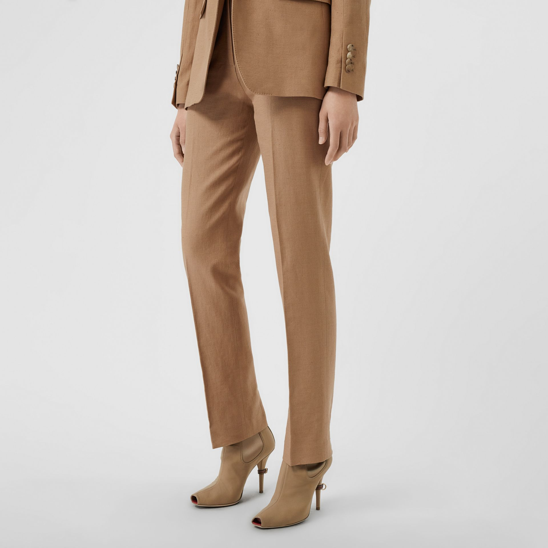 Cotton Linen Tailored Trousers in Ceramic Brown - Women | Burberry - gallery image 4