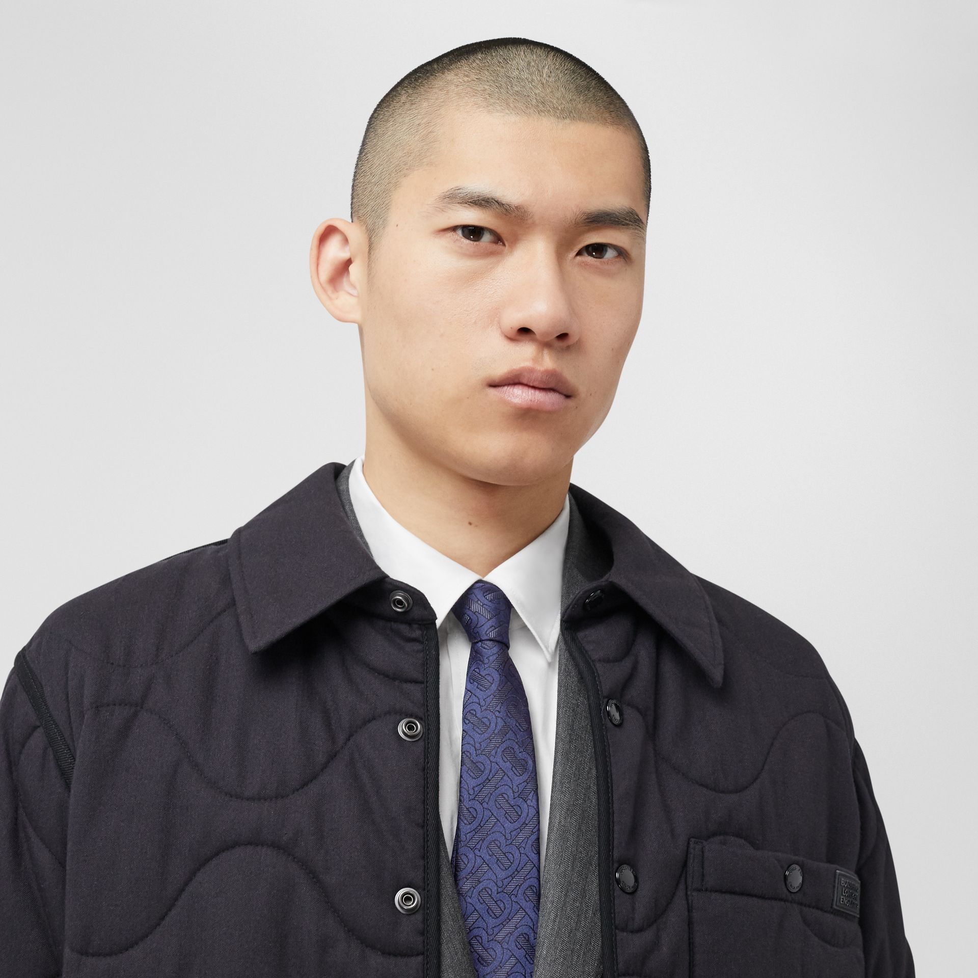 Classic Cut Monogram Silk Blend Jacquard Tie in Bright Indigo - Men | Burberry Hong Kong S.A.R - gallery image 2