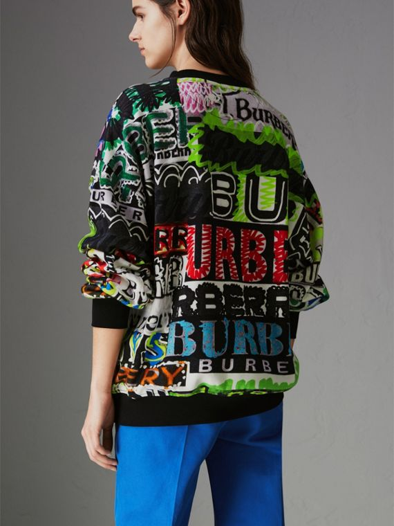 Graffiti Logo Cotton Jersey Sweatshirt in Multicolour - Women | Burberry Hong Kong - cell image 2