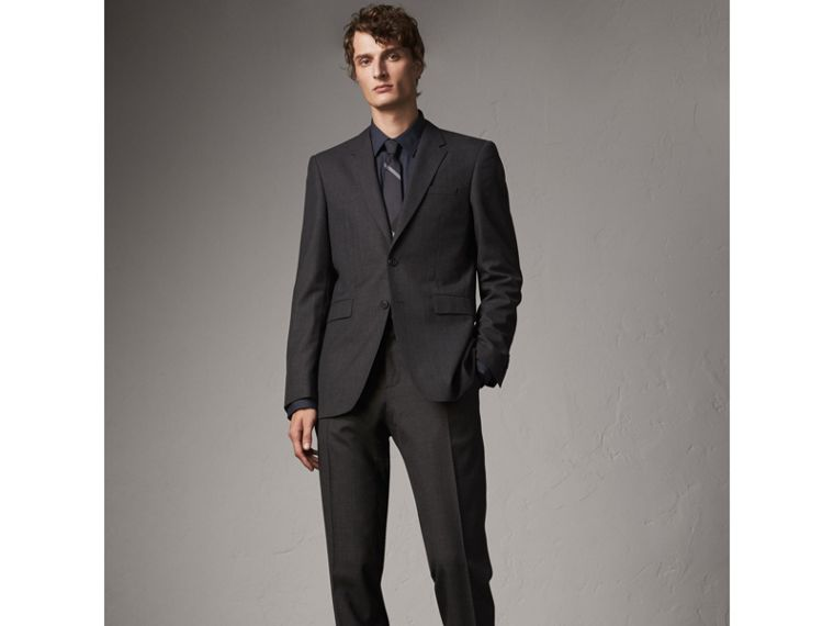 Modern Fit Stretch Cotton Shirt in Navy - Men | Burberry Hong Kong - cell image 4