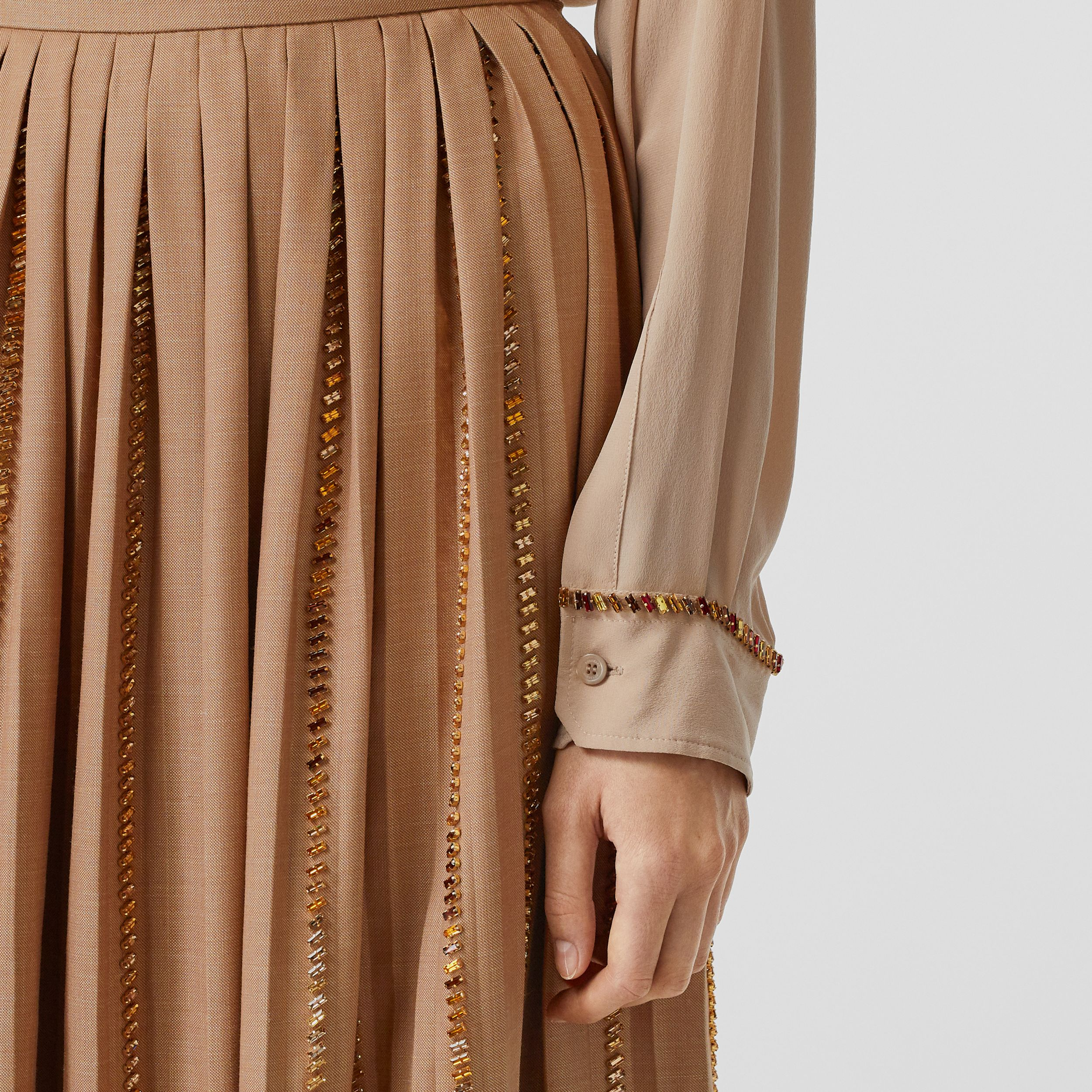 Crystal Detail Plissé Soleil Wool Silk Blend Skirt in Biscuit - Women | Burberry - 2