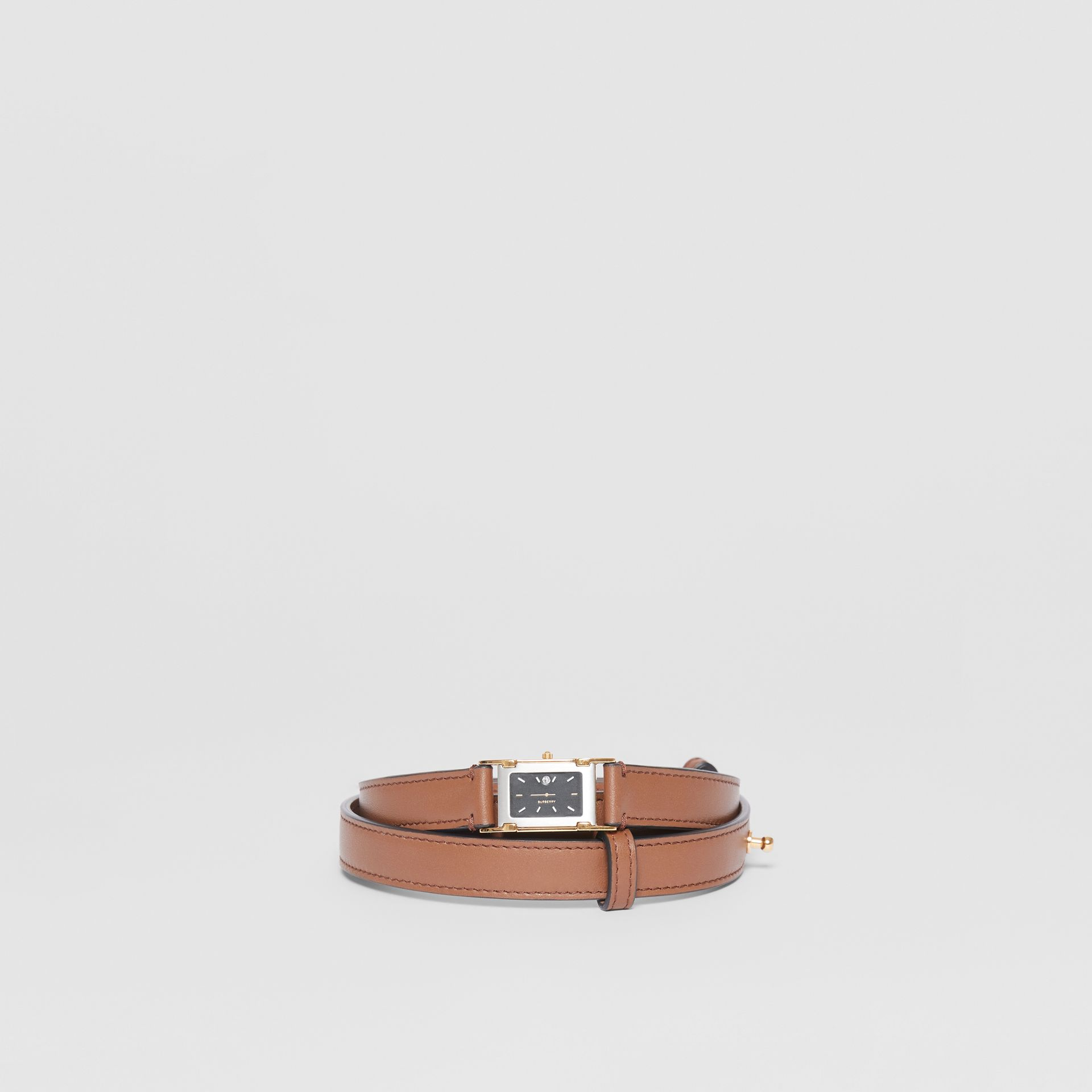 Faux Watch Detail Leather Belt in Tan - Men | Burberry - gallery image 2