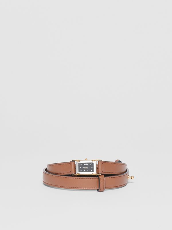 Faux Watch Detail Leather Belt in Tan - Men | Burberry - cell image 2