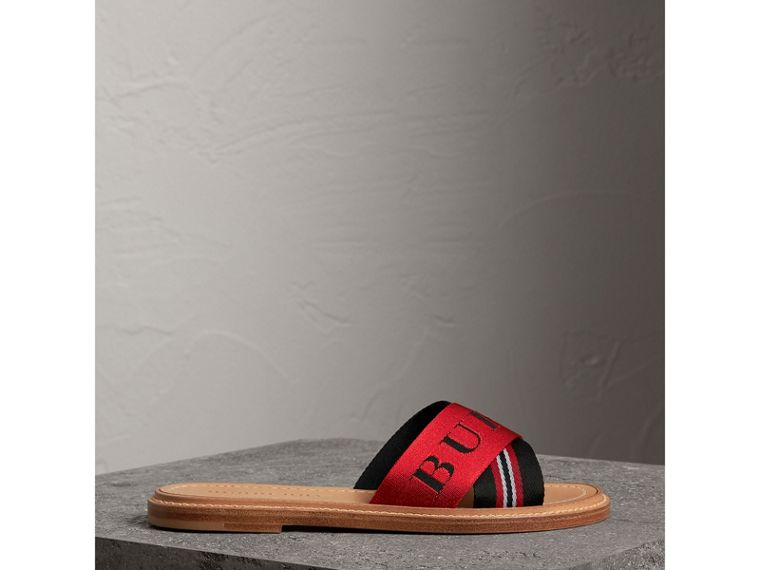 Striped Nylon and Leather Slides in Black/red/white - Women | Burberry - cell image 4