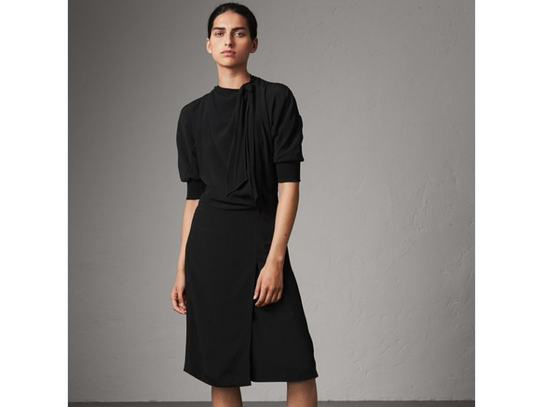Pussy-bow Crepe Dress in Black - Women | Burberry - cell image 4