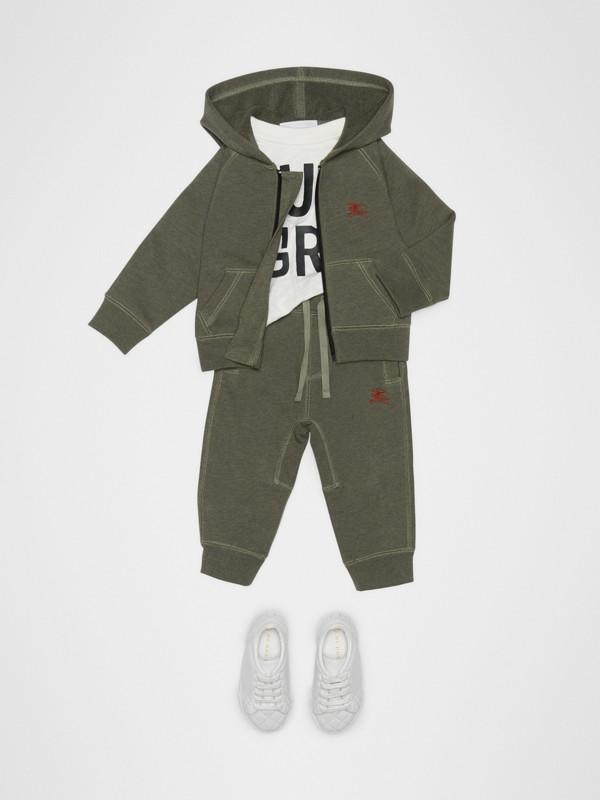 엠브로이더리 로고 코튼 트랙 팬츠 (올리브 멜란지) - 아동 | Burberry - cell image 2